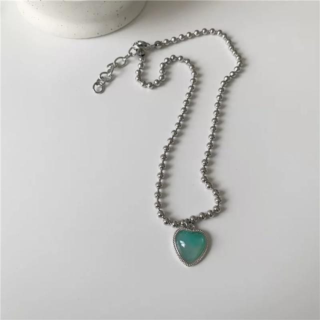 Mint heart pendant necklace