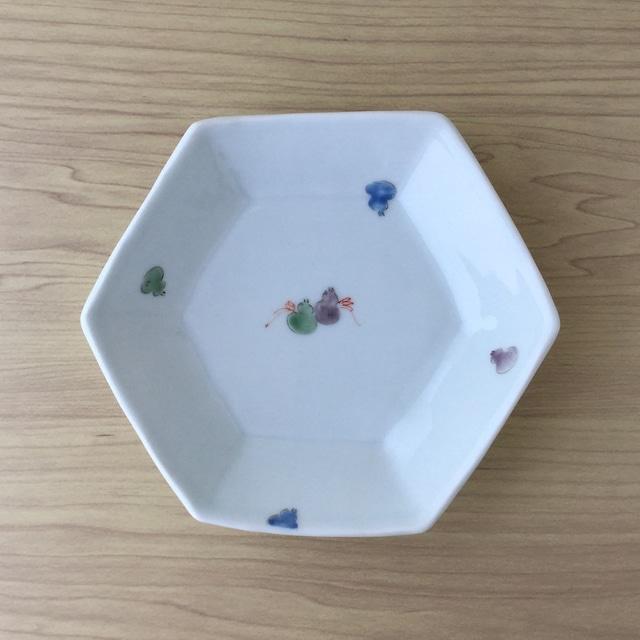 【波佐見焼】色絵六瓢絵 六角鉢【在庫限り】