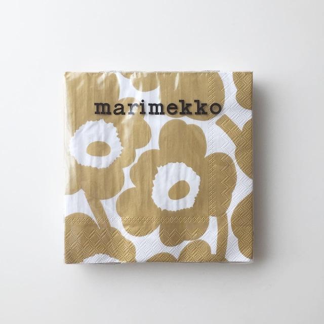 【marimekko】ランチサイズ ペーパーナプキン UNIKKO ホワイト×ゴールド 20枚入り