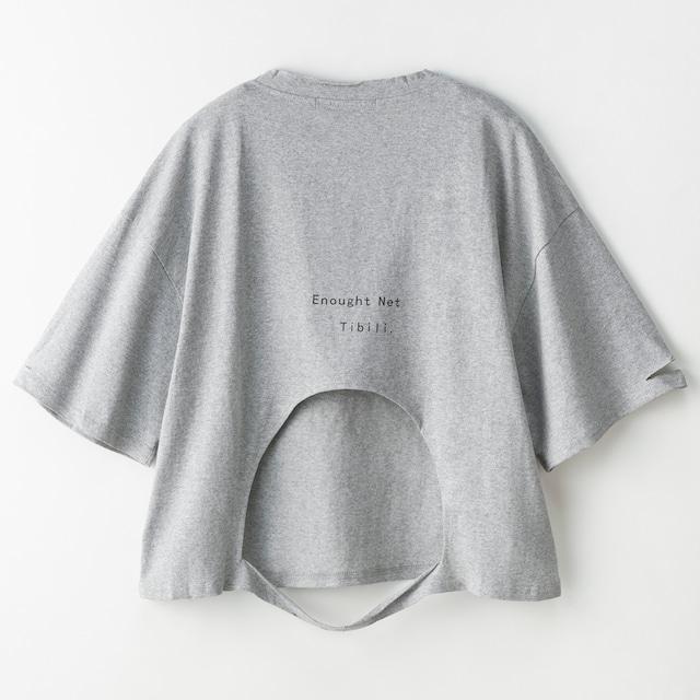 BACKブロークンプリントTシャツ (L19042-049)