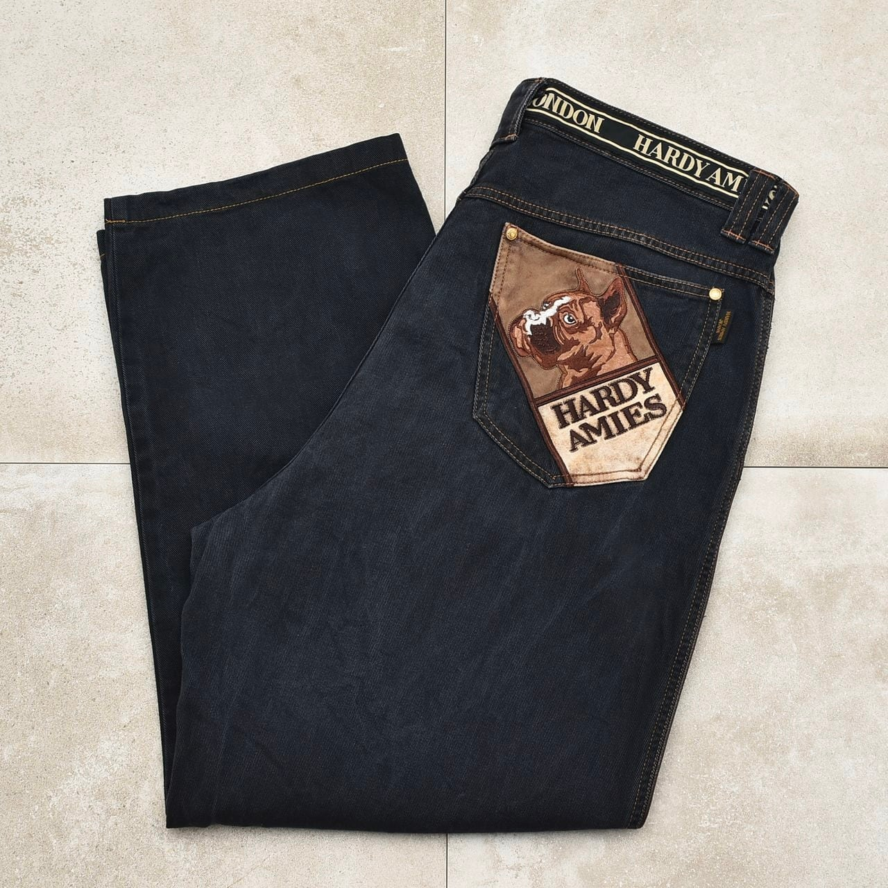 HARDY AMIES embroidery wide denim pants