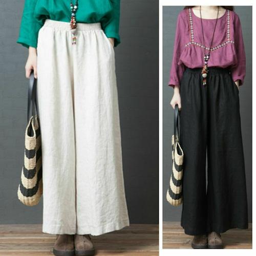 ワイドパンツ 韓国ファッション ボトムス コットン ワイドレッグパンツ ウエストゴム ゆったり レディース DCT-587910006827