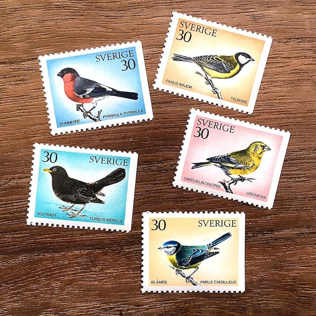 切手(未使用)「スウェーデンの野鳥 - 5種セット(1970年発行)」