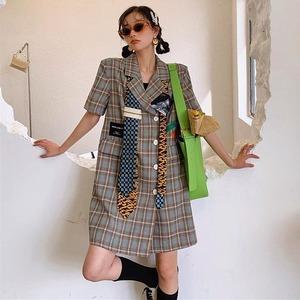 【アウター】ファッション運動カジュアル半袖チェック柄ロング丈スーツ45778792