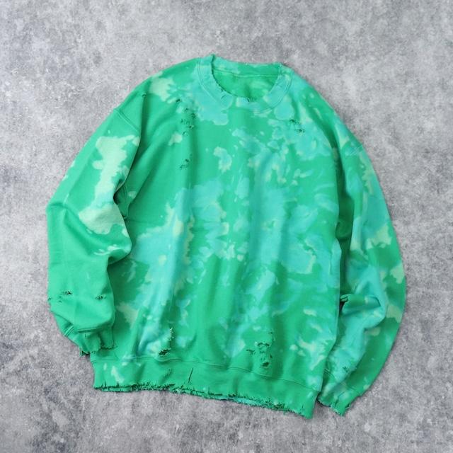 """ BORO & 抜染 "" Sweatshirt   Green b196"