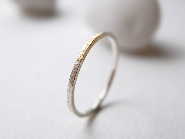 K18YG×silver950/ratio texture ring