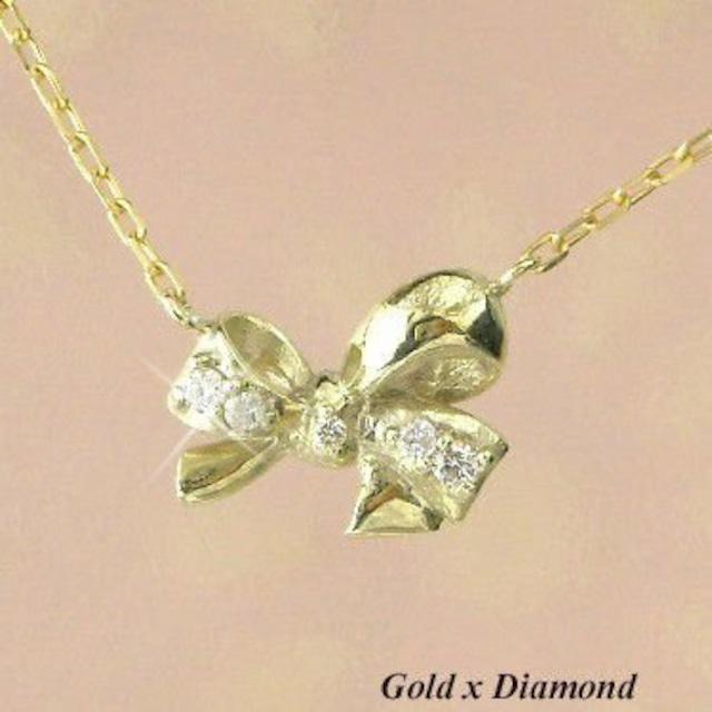 ダイヤモンド ネックレス リボン 10金イエローゴールド レディース