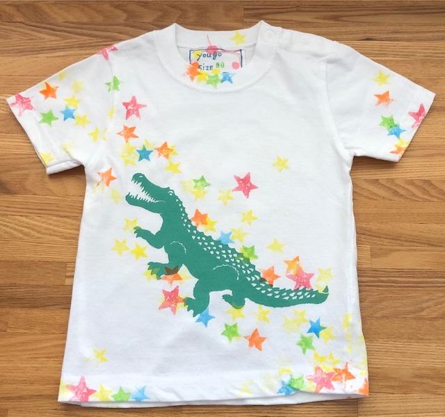 受注制作 kidsTシャツ「わに-星・わに-ドット」 80~110cm対応