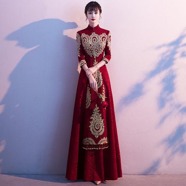 中華服 結婚式ドレス 演出服 撮影服 イベント服装 S~4L ワインレッド 赤い サテン 刺繍 フリンジ ビーズ