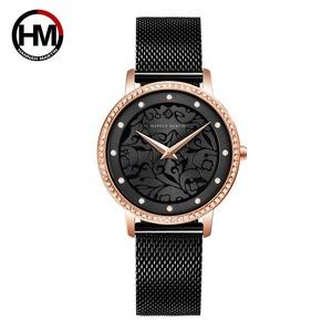 女性 革腕時計 3D彫刻 日本のクォーツ防水イントップHM-1073-BLACK