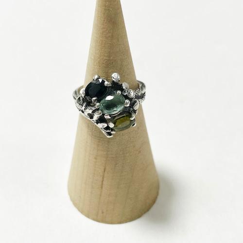 Vintage Botanical Sterling & Gemstone Ring