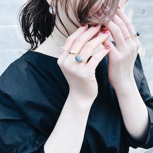 SET RINGS    【通常商品】GRAY MARBLE STONE RING + PERAL FLOWER RING    5 RINGS    GOLD    FRSG0130I