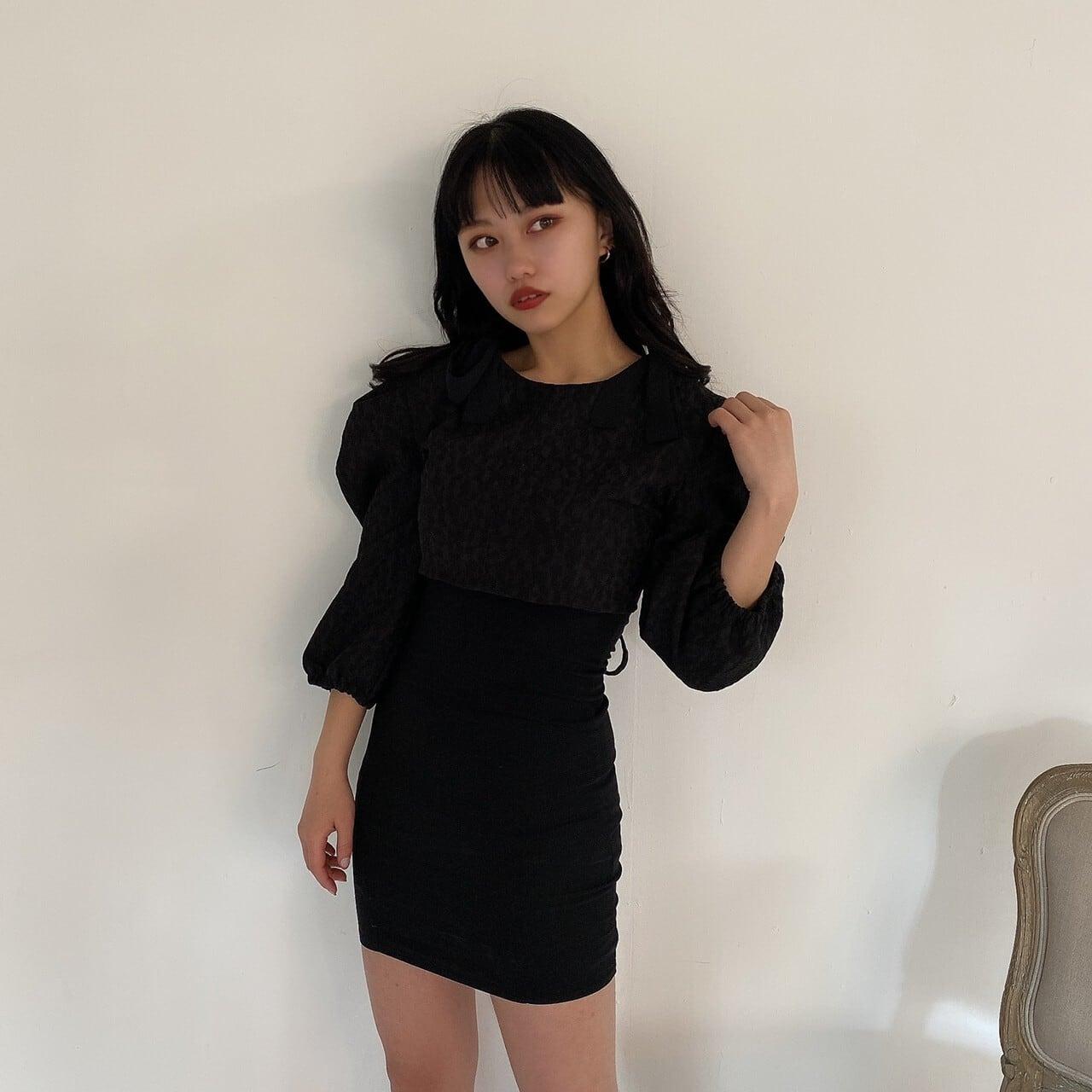 【Belle】 ribbon camisole onepiece / black