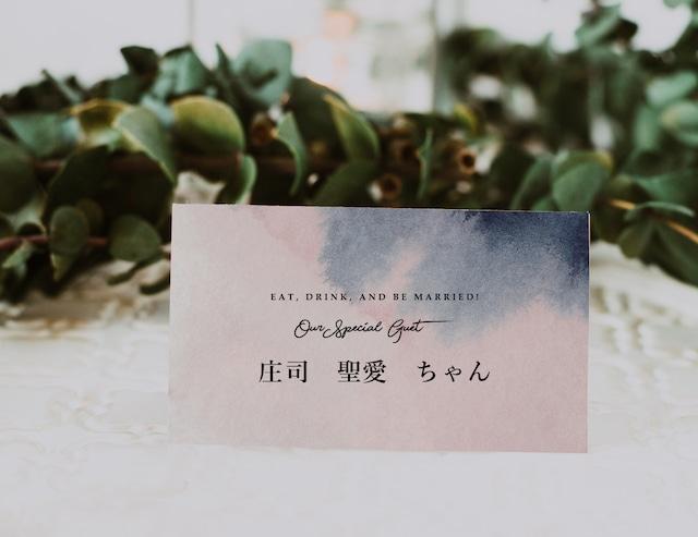 席札 90円/部~ <ネイビー&ピンク> │ウェディング 結婚式