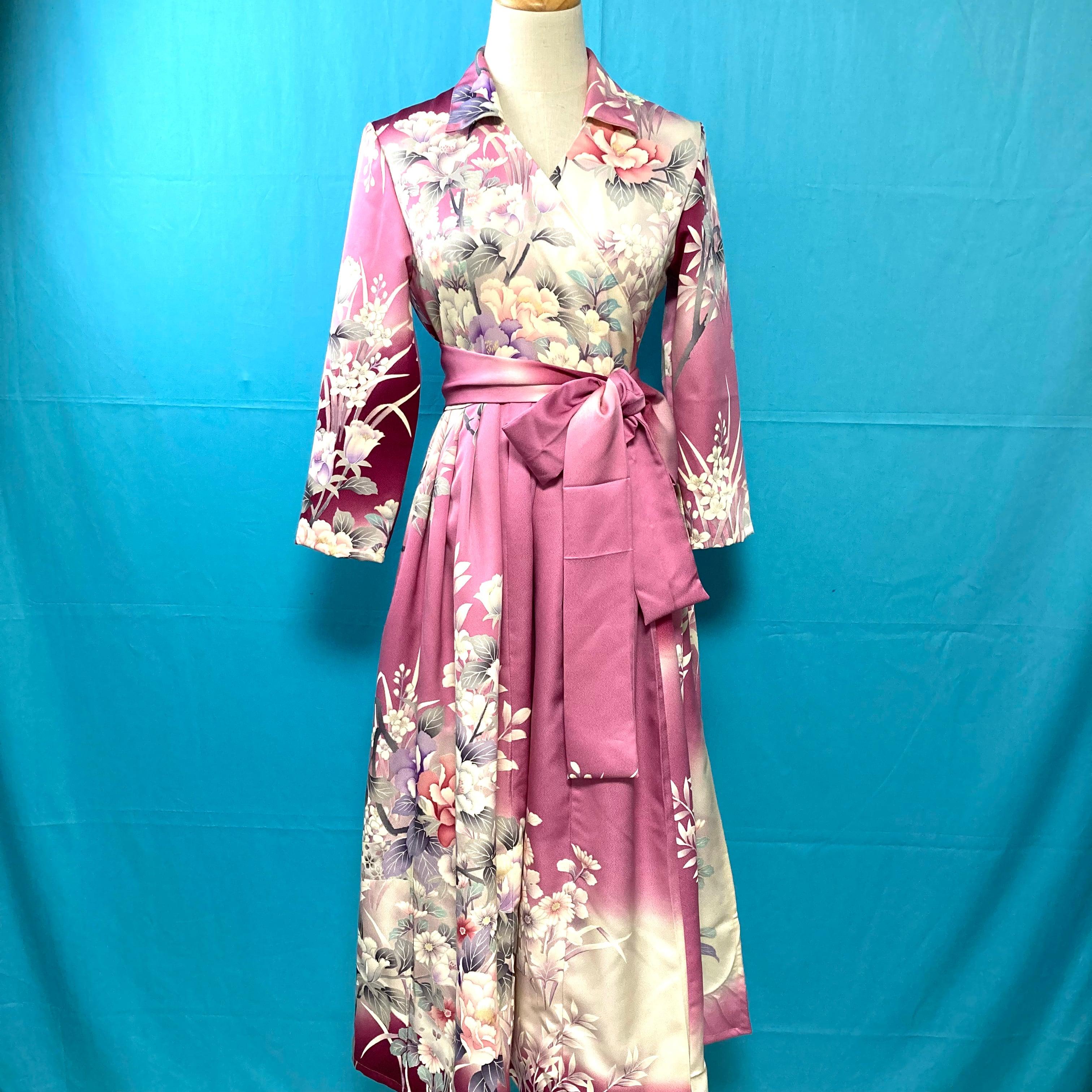 Vintage kimono wrap dress/ US 6