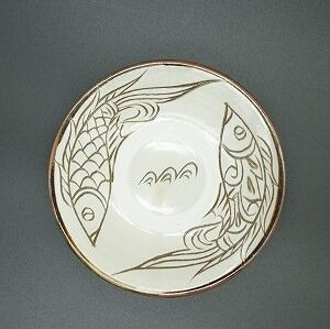 O様オーダー品 線彫り魚紋5寸皿・6寸皿【金城陶器秀陶房】