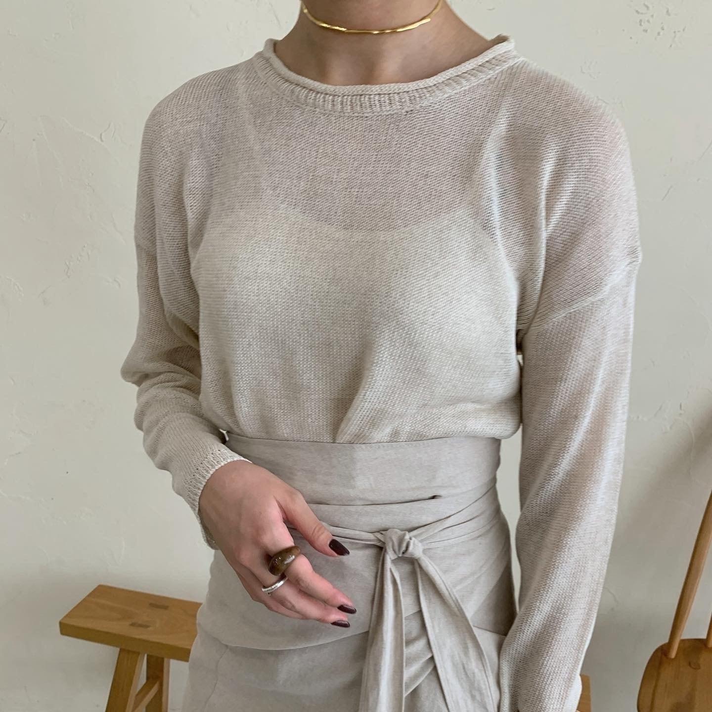 roll neck sheer knit