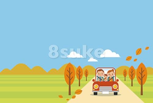 イラスト素材:ドライブを楽しむ家族/秋・ヨコ・青空バック(ベクター・JPG)