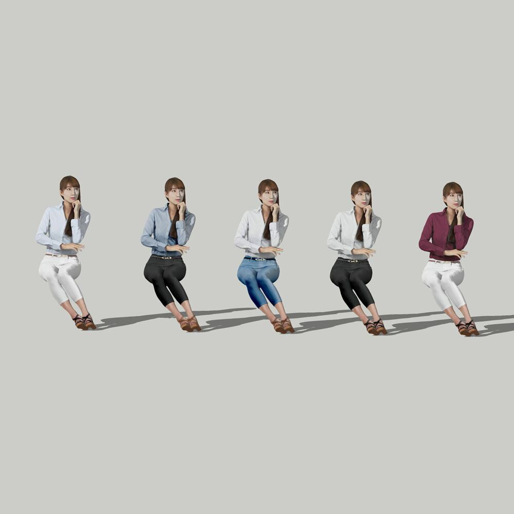 SketchUp素材 3D人物モデル ( Posed ) 009_Rika - 画像2