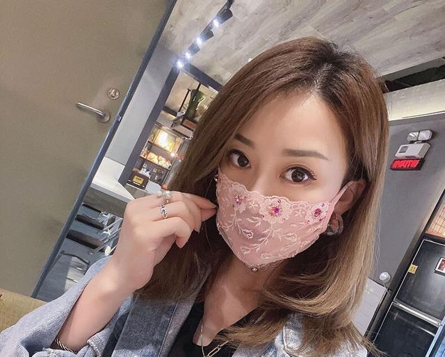 【再入荷】レーシー&ビジュー マスクカバー・フューシャピンク