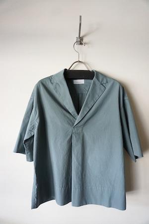Cotton Open Collared Shirt [ Blue Gray ]