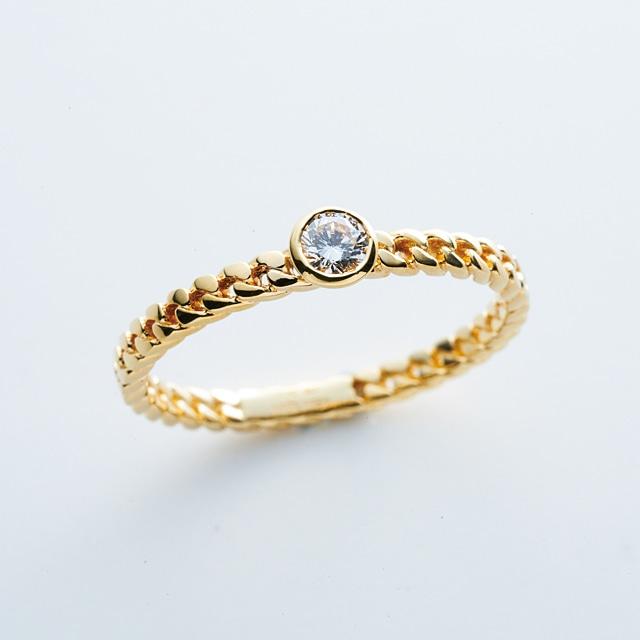Diamond on Chain Ring / K18YG