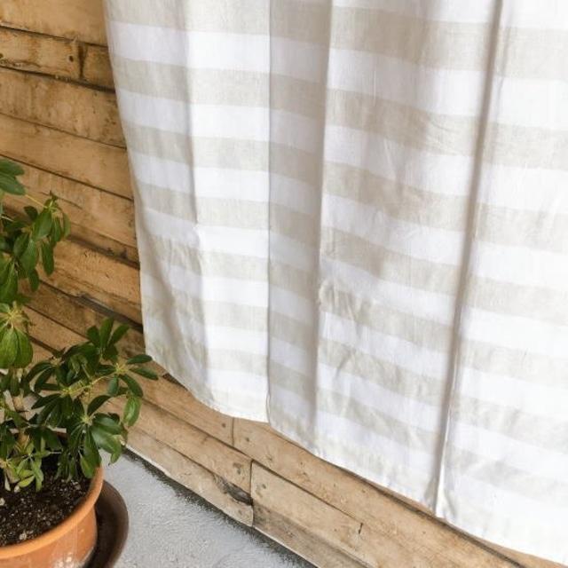 TOPANGA Homefurnishing  コットンシーチング ホワイトオンホワイトボーダーカーテン W110×H180cm