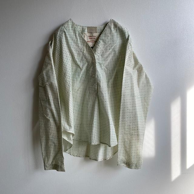 "V-neck long sleeve top ""block print geometric"" organic cotton"
