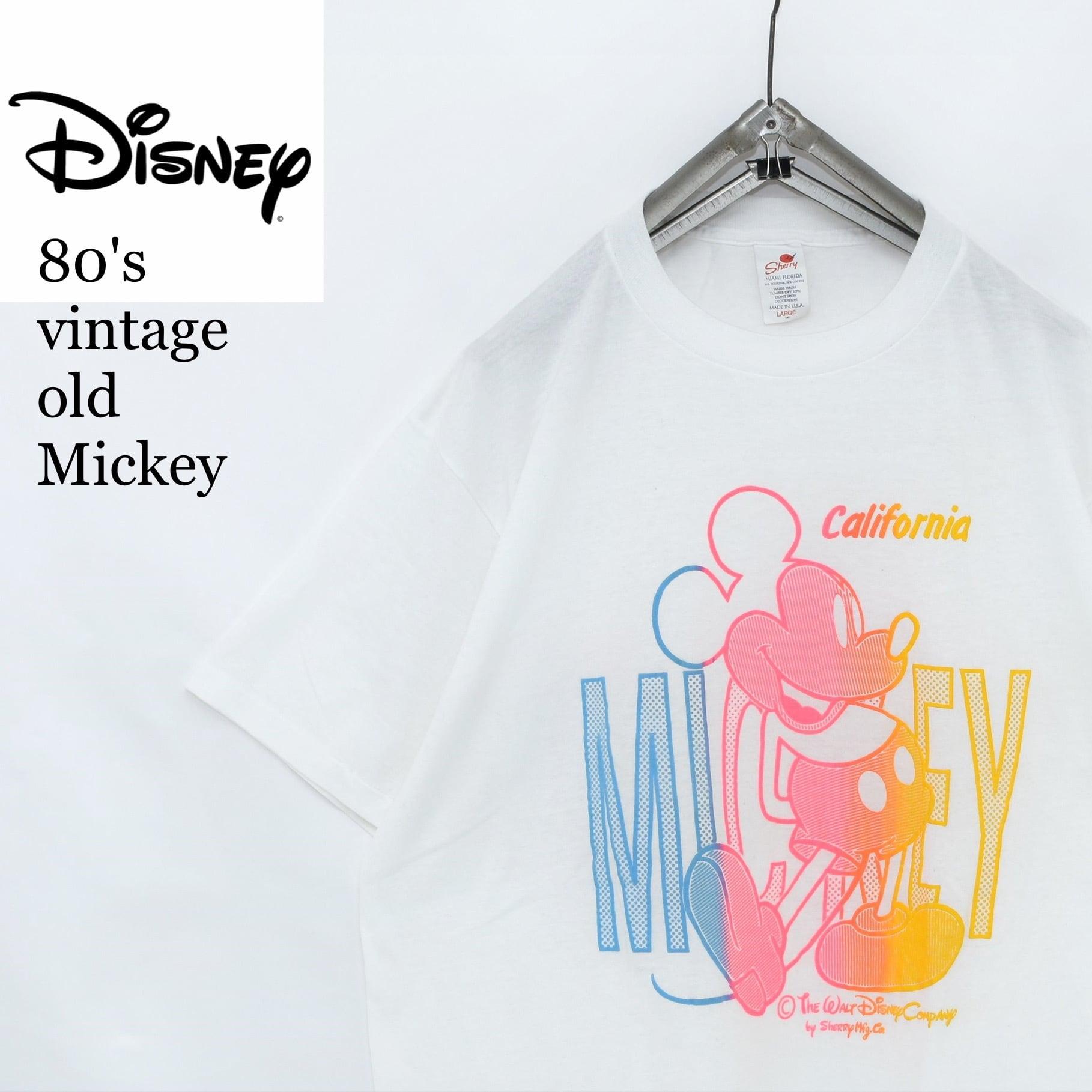 Vintage sherryタグ USA製 ミッキー 発泡プリント Tシャツ ビンテージ シェリータグ