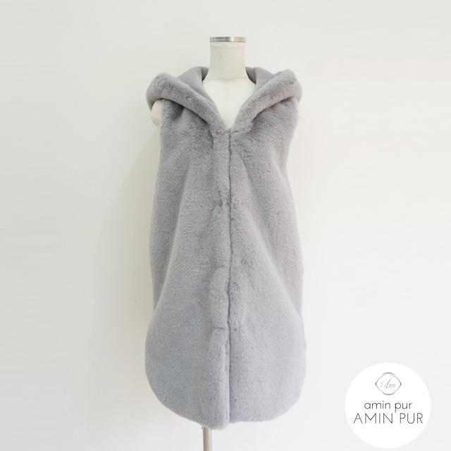 フェイクファーフードジャケット Gray