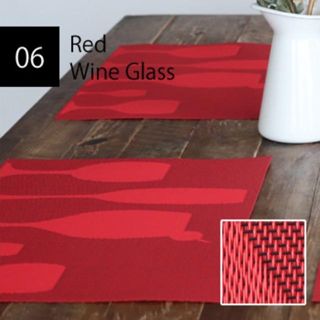撥水PVC レッドワイングラス ランチョンマット 2枚セット