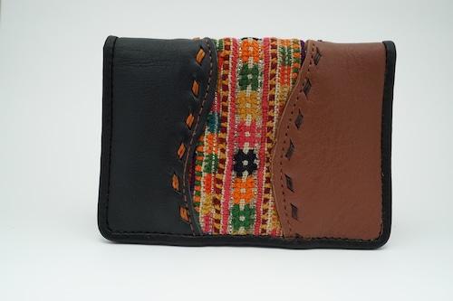 モン族刺繍生地と牛革のたくさん入るカードケース 名刺入れ