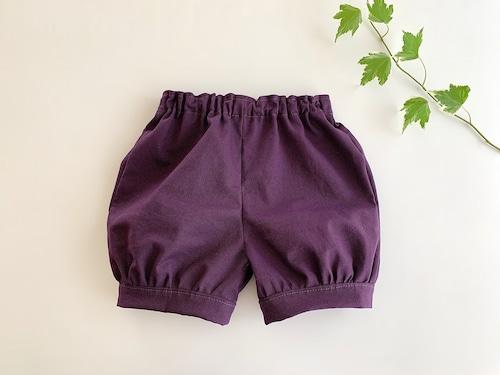綿麻の かぼちゃパンツ・紫色無地 90cm