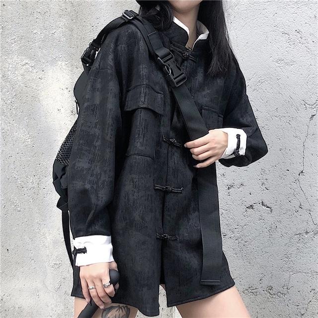 チャイナ風トップス アウター シャツ 改良唐装 改良漢服 女子会 同窓会 中華服 長袖 ブラック 黒い 可愛い ゆったり