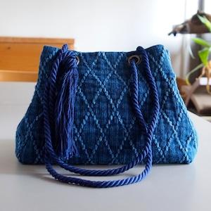 うしじま縫製   武州正藍染 2WAYバッグ(手提げ・ショルダー) 二重刺子