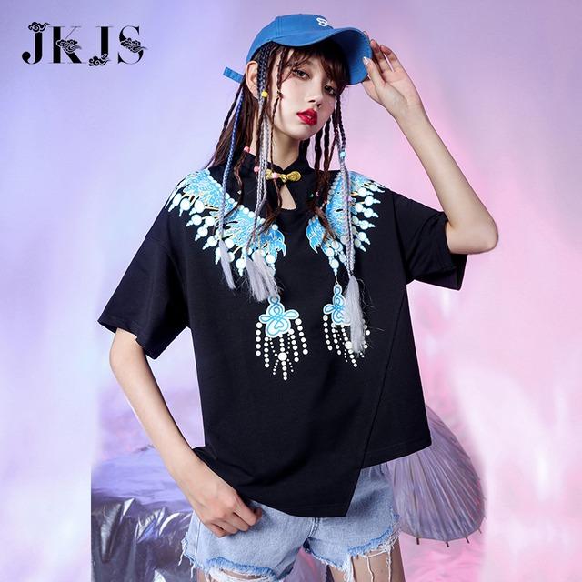 【JKJSシリーズ】★チャイナ風トップス★ Tシャツ 2color 黒orピンク 不規則 個性的 可愛い 半袖 ゆったり