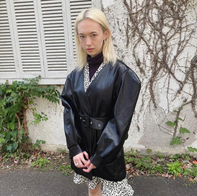 【ASHLEY】leather jacket(BLACK)