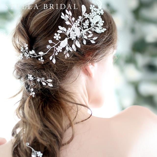 【受注生産品】オーストリアンクリスタル使用 フローラルチャームの小枝ヘッドドレス Bliss - ブリス