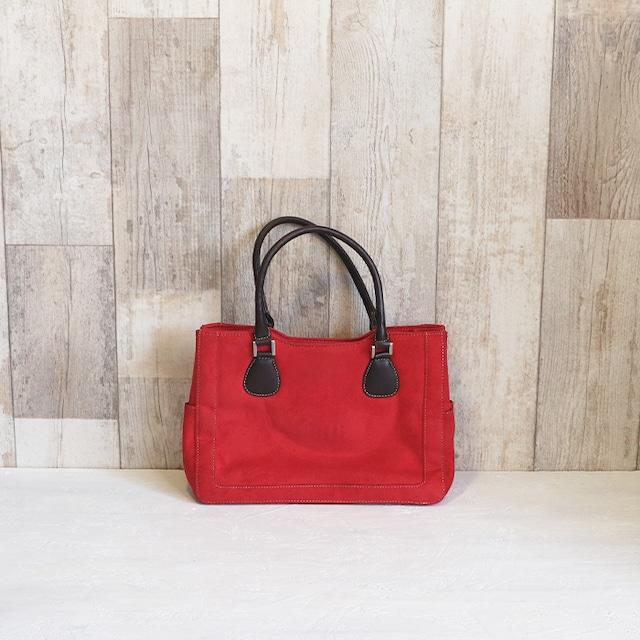 【R-407】赤×ブラウン レトロスェードバッグ