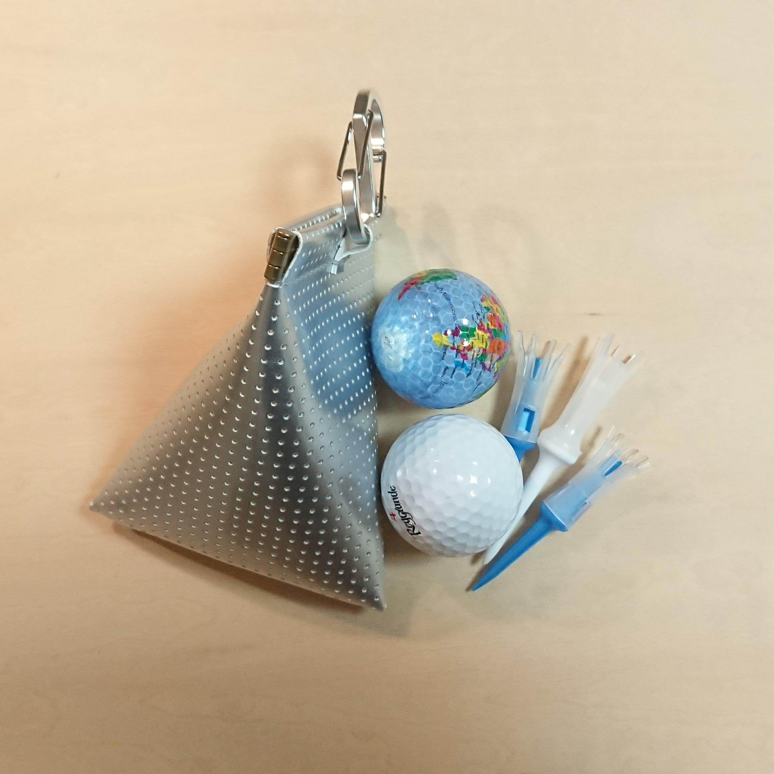 三角型 ゴルフボールケース☆ボール2個用 シルバー