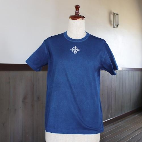 ラトビア柄藍染Tシャツ フリー(as76)
