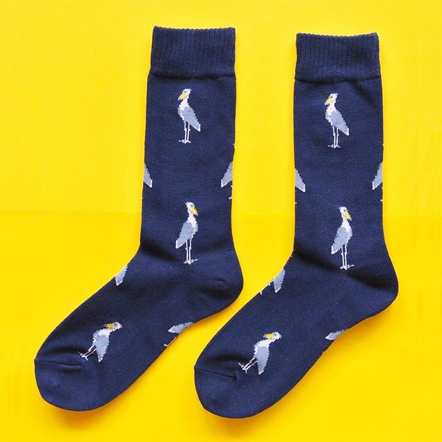 《鳥/ハシビロコウ》 靴下 ハシビロコウ ネイビー  23〜25cm レディース ソックス
