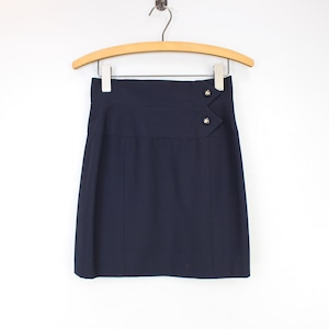 .CHANEL COCO MARC BUTTON WOOL SKIRT MADE IN FRANCE/シャネルココマークボタンウールスカート2000000057026