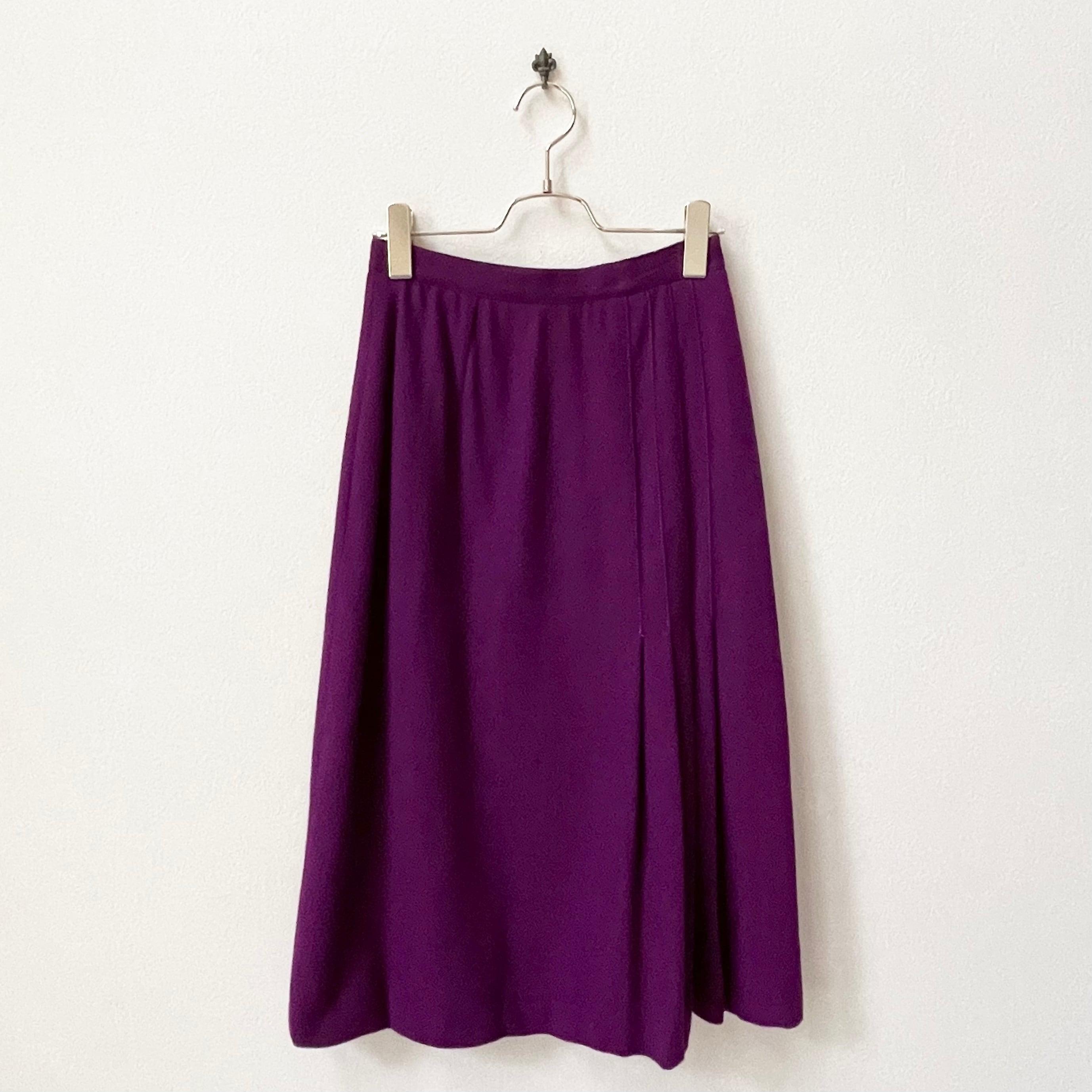 80年代 USA製 裾プリーツ ウール フレアスカート 古着 日本M