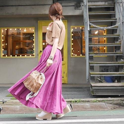 KU-UM×momo リネンマキシスカート フューシャピンク