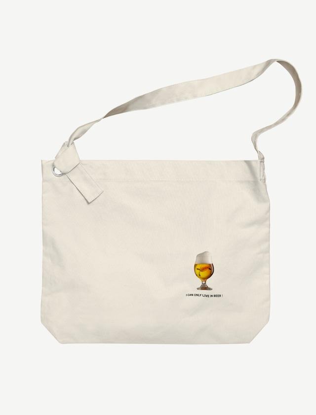 【ビールの中でしか・・・ウミガメ】ビッグショルダーバッグ(ナチュラル)