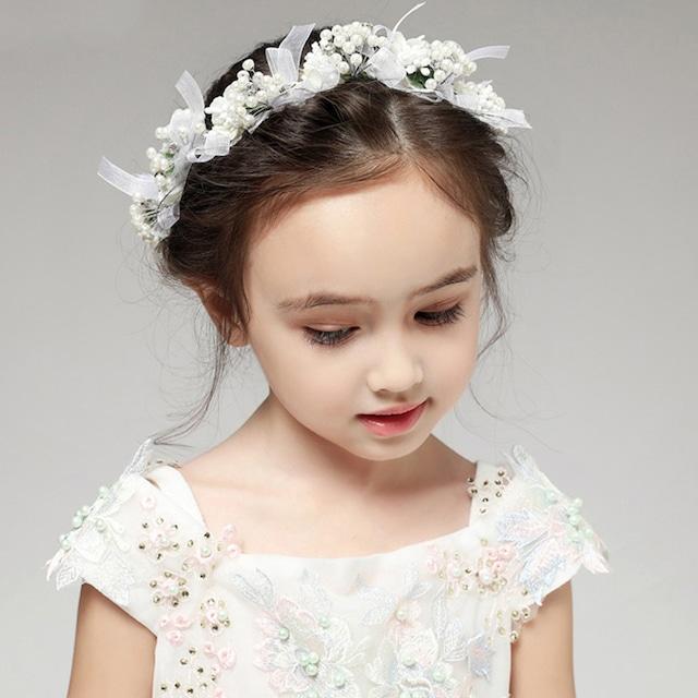 子どもカチューシャ フラワーティアラ 子供用 フォーマル用髪飾り ヘアアクセサリー キッズ 結婚式 ウェディング 発表会 入園式 ホワイト