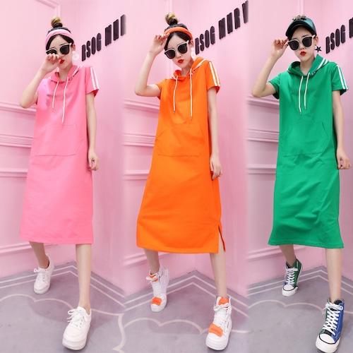 サイドライン パーカーワンピース 韓国ファッション レディース フード ワンピース ピンク オレンジ グリーン ロング丈 DCT-567270415970_a