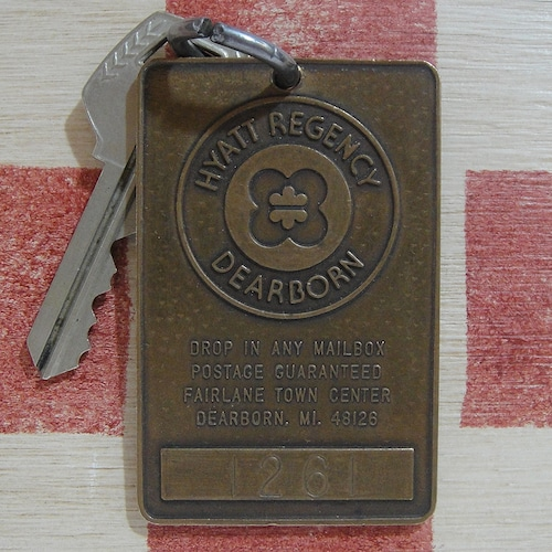 アメリカ HYATT REGENCY DEARBORN[ハイアット リージェンシー ディアーボーン]ミシガン州ホテル金属製ヴィンテージルームキー&タグホルダー