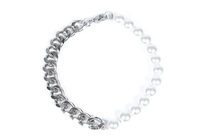 【316L pearl & chain bracelet】 / SILVER